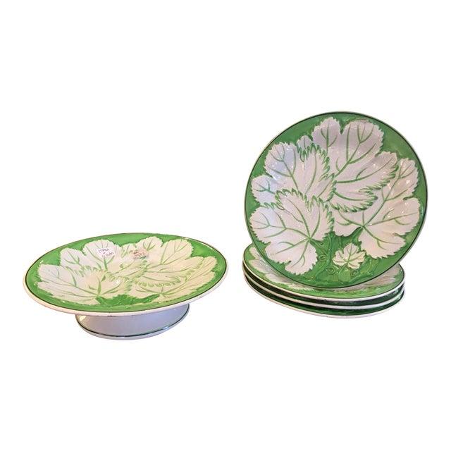 Green & White Majolica Plates & Tazza - Set of 5 For Sale