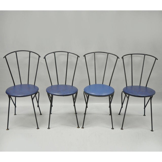 4 Vintage Mid Century Modern Brutalist Iron Rebar Dining Chairs Industrial Steampunk For Sale - Image 11 of 11