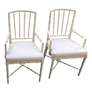 Faux Bamboo Arm Chairs - a Pair For Sale