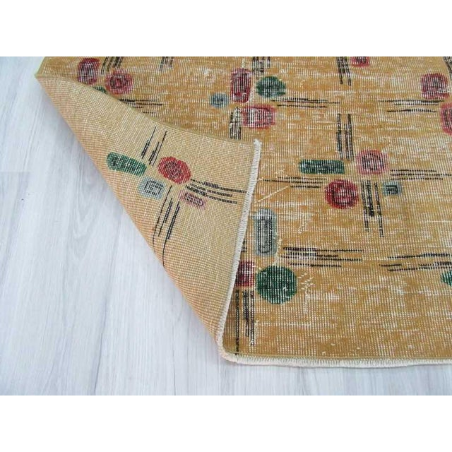 Vintage Turkish Deco Yellow Rug - 3′8″ × 8′2″ For Sale In Los Angeles - Image 6 of 6