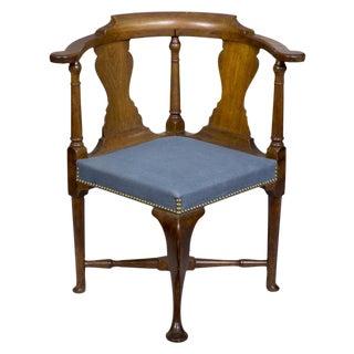 Early Queen Anne Walnut Corner Chair