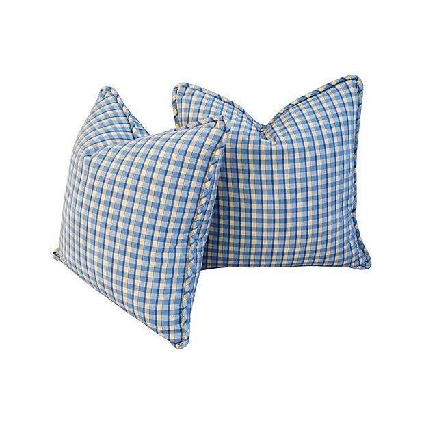 Custom-Made English Plaid Gingham Pillows - A Pair - Image 4 of 7