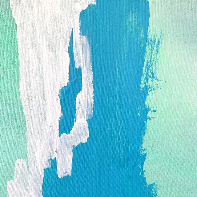 Abstract Expressionism Blue and Yellow Landscape Painting by Matthew Izzo For Sale - Image 3 of 4