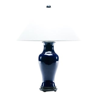 Lawrence & Scott Baluster Table Lamp in Cobalt Blue For Sale