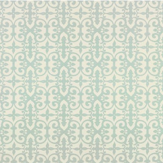 Sample - Schumacher Ferne Park Wallpaper in Orpington Blue For Sale