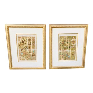 Late 19th Century French Gilt Lithographs of Arts by P. Gelis Didot - A Pair For Sale
