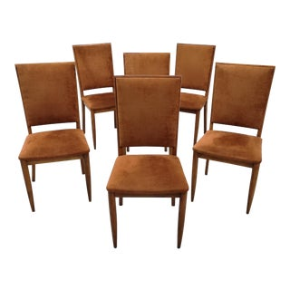 Gorgeous Set of 6 Mid-Century Modern Luxury High Back Salmon Dining Chairs Original Upholstery For Sale