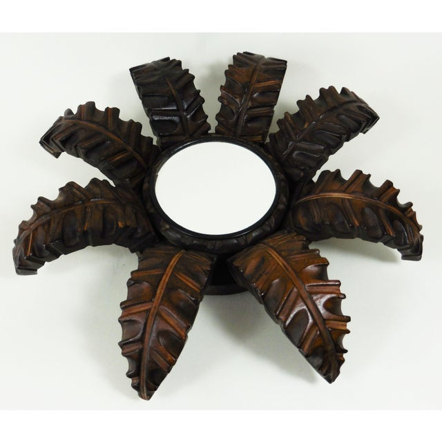 French Wood Leaves Sunburst Mirror - Image 3 of 4