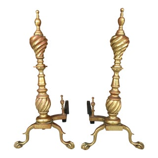 Victorian Spiral Chippendale Style Brass Andirons - A Pair For Sale