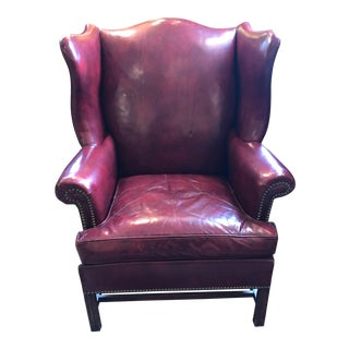1950s Vintage Maroon Leather Wingback Chair For Sale