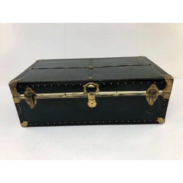 Vintage Vulcanized Black Steamer Trunk With Tray For Sale - Image 12 of 12