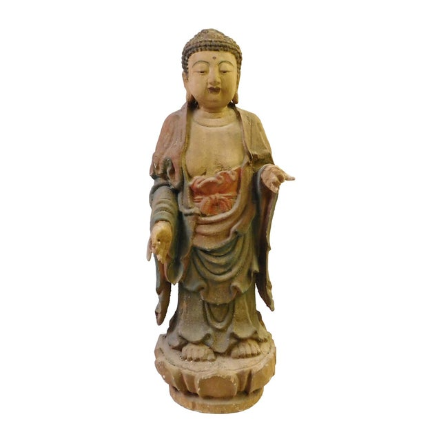 Chinese Rustic Wood Standing Buddha Statue - Image 1 of 8