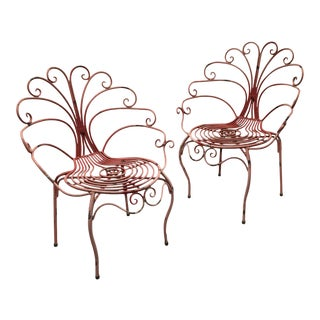 French Mid-Century Peacock Chairs — a Pair For Sale