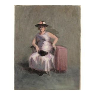 """Mid 20th Century """"Violet Madame"""" Portrait Oil Painting by A. Nichols For Sale"""