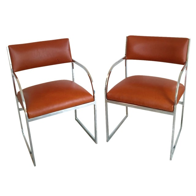 Chrome Flat-Bar Chairs in Leather Hide - A Pair - Image 1 of 5