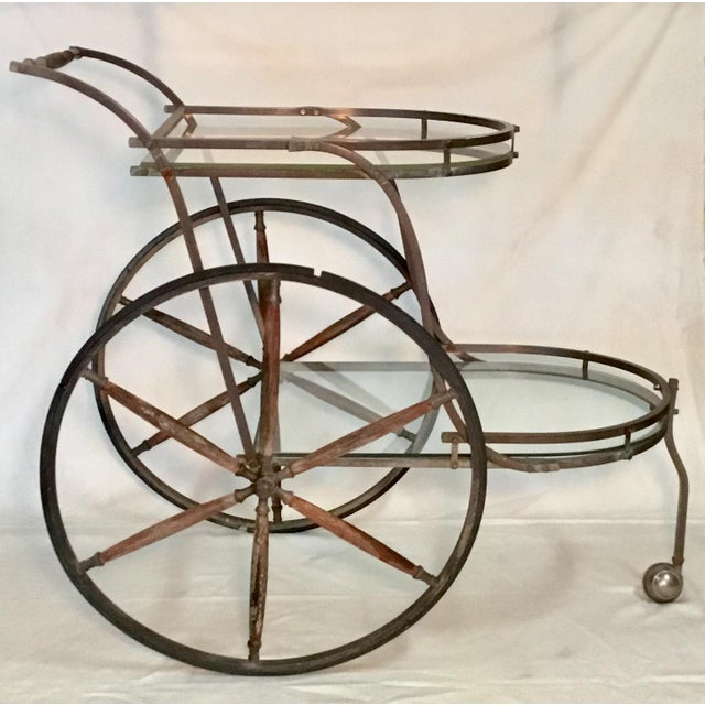 Metal 1950s Bronze and Glass Bar Cart With Wooden Spoked Wheels For Sale - Image 7 of 13