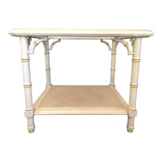 20th Century Hollywood Regency Lane Faux Bamboo With Fretwork End Table For Sale