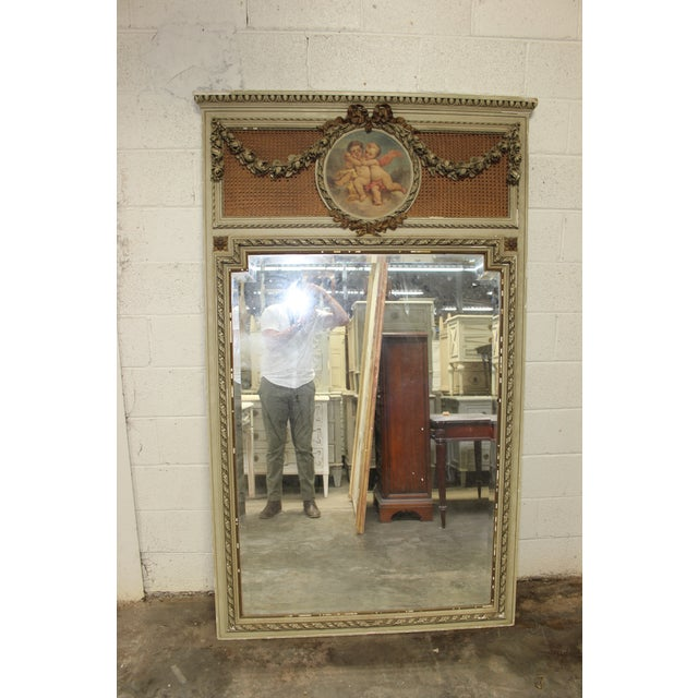 French Early 18th Century Antique French Painted Trumeau Mirror For Sale - Image 3 of 6
