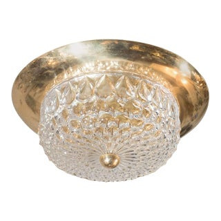 Mid-Century Modernist Crystal Dome and Brass Flush Mount Chandelier For Sale