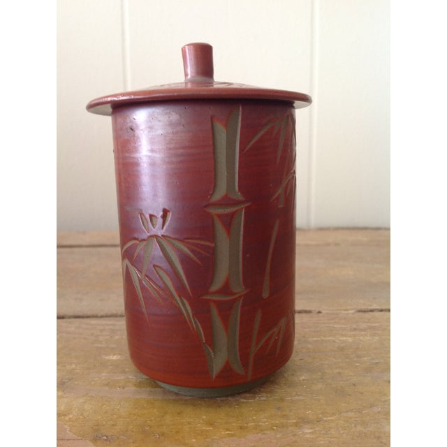 1960s Japanese Small Cylindrical Ceramic Pot With Lid and Bamboo Decoration. For Sale - Image 5 of 5
