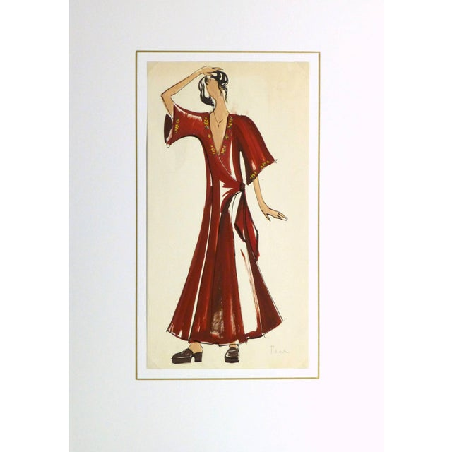 French Fashion Sketch - Red Wrap Dress For Sale - Image 4 of 5