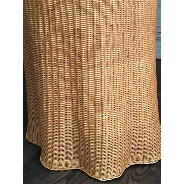 1970s Boho Chic Trompe l'Oeil Draped Wicker Rattan Ghost Table For Sale - Image 4 of 11