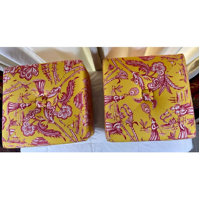Yellow Late 20th Century Vintage Chinoiserie Pouf Footstools with Brass Feat - a Pair For Sale - Image 8 of 10
