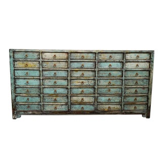 Vintage Mongolian Turquoise File Sideboard For Sale