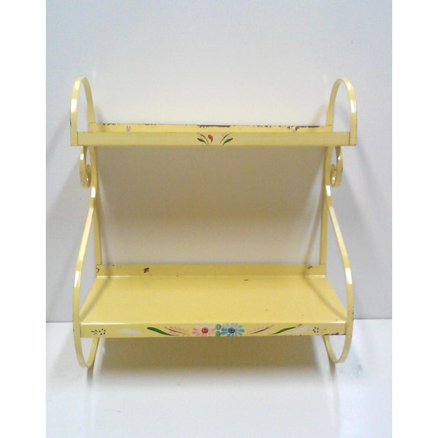 Vintage Hand Painted Yellow Wall Shelf - Image 3 of 6