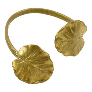 French Mid Century Modernist Gilt Brass Cuff Bracelet Floral Pattern For Sale
