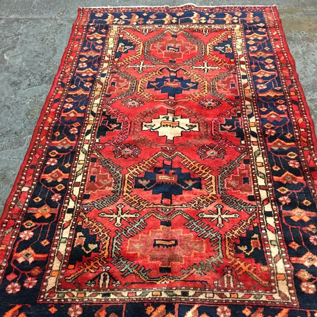 Hand Woven Wool Persian Rug - 4′3″ × 7′ For Sale - Image 5 of 7