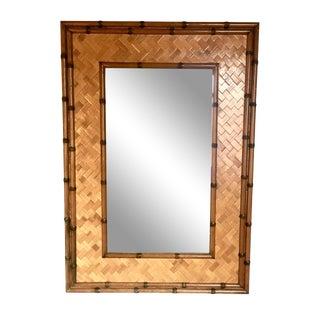 "28"" Mid-Century Faux Bamboo & Rattan Herringbone Mirror For Sale"