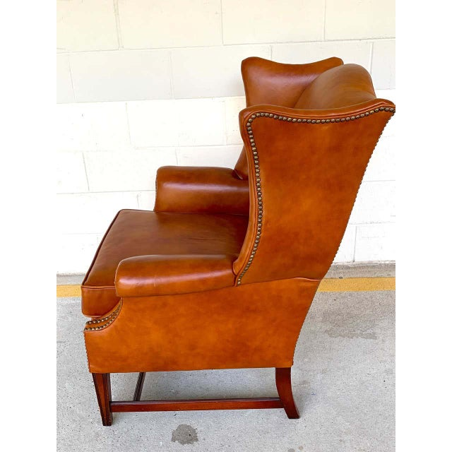 Brown English Saddle Leather Mahogany Wingback Chair For Sale - Image 8 of 9