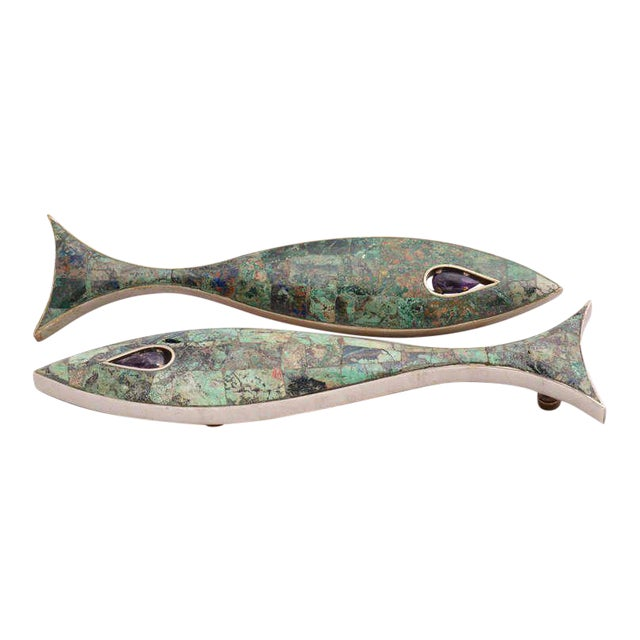Pair of Modernist Amethyst & Azurite Fish Drawer Handle by Los Castillo For Sale