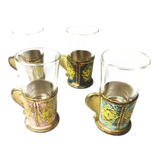 Mid-Century Shot Glasses With Florentine Style Holders - Set of 4