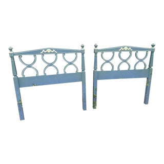 1960s Neoclassical Dreaming of Wedgwood Blue Solid Wood Twin Headboards - a Pair For Sale