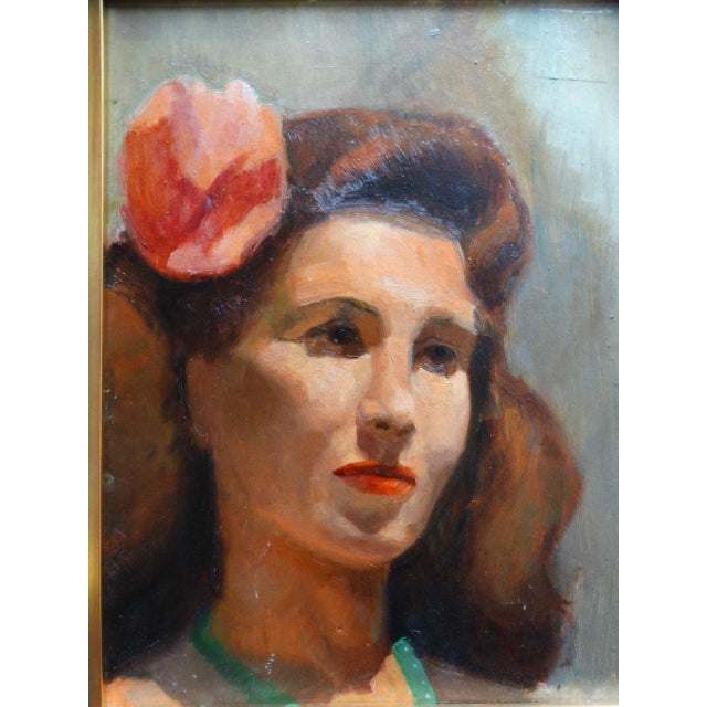 Vintage Mid-Century Albert Londraville Woman With a Flower in Her Hair Painting For Sale In Los Angeles - Image 6 of 8