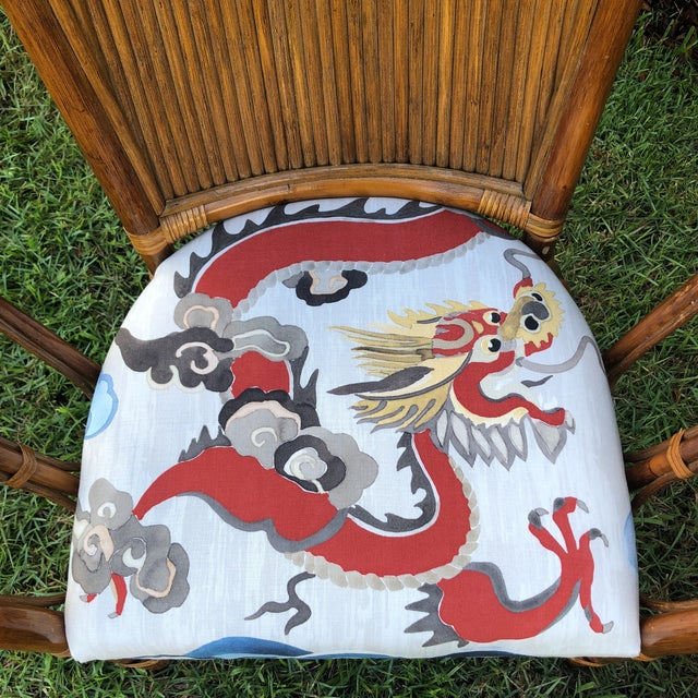 1900 - 1909 Carleton Varney Fabric Upholstered Bamboo Arm Chairs - a Pair For Sale - Image 5 of 12