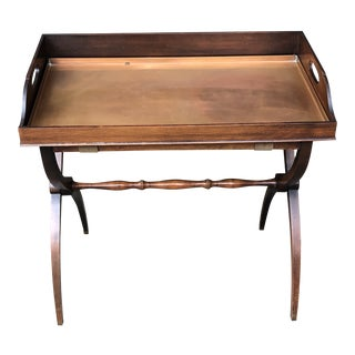 Copper & Wood Tray Table For Sale