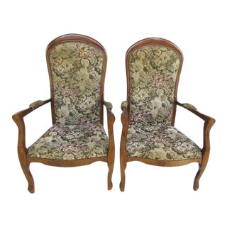 Pair of Vintage French Floral Voltaire Chairs For Sale