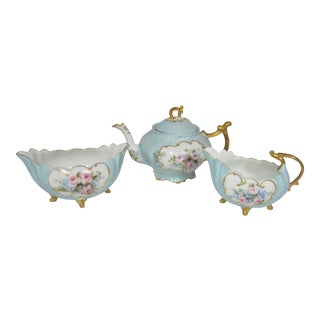 French Limoges Hand Painted Tea Service - 3 Piece Set For Sale