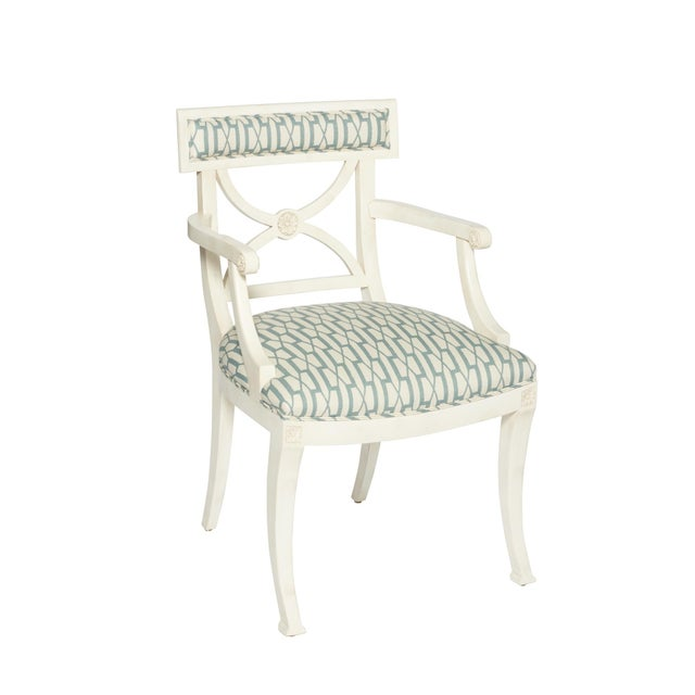 Schumacher Westminster Belvedere Peacock Blue Hand-Carved Beechwood Armchair For Sale - Image 9 of 9