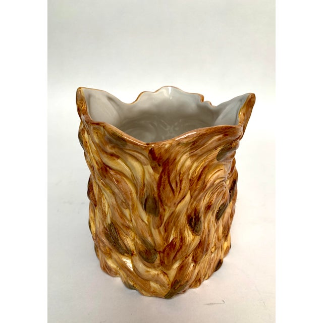 1960s Italian Porcelain Fox Head Vase or Cachepot For Sale - Image 5 of 11
