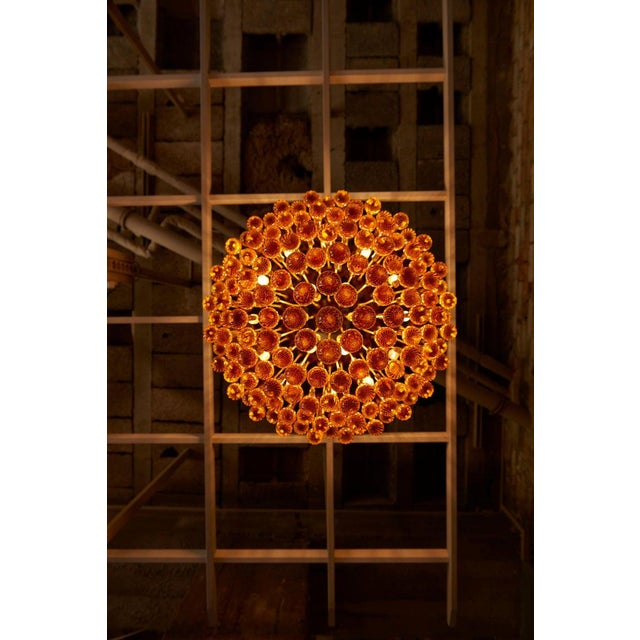Mid-Century Modern Monumental Brass and Murano Glass Tear Drop Flush Mount Attr. To Barovier & Toso For Sale - Image 3 of 13