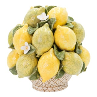 Vintage Italian Majolica Lemons & Limes Topiary Basket For Sale