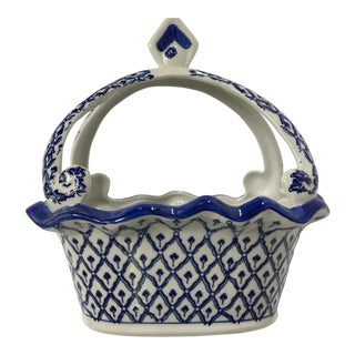 Vintage Blue and White Ceramic Scalloped Basket/Catchall For Sale