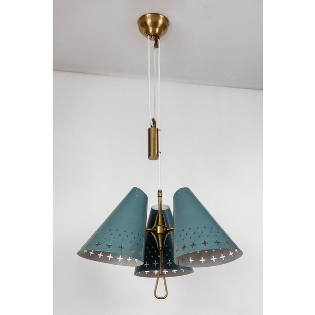 1950s Bent Karlby Counterweight Chandelier for Lyfa For Sale In Los Angeles - Image 6 of 13