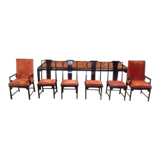 1970s Asian Century Furniture Chin Hua Style Dining Set - 7 Pieces For Sale