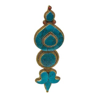 Tibetan Turquoise Medallion in Lucite Display Case