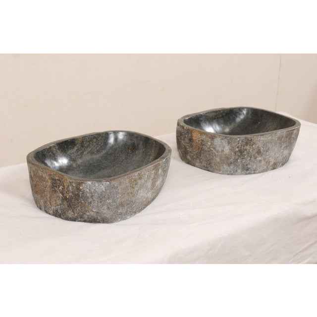 Stone Natural Handcrafted River Rock Sinks-A Pair For Sale - Image 7 of 11